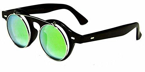 Round Flip up 42mm Django Levante Gafas De Sol Sunglasses (Black/Green Lens)