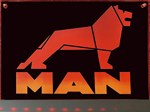 Schilderfeuerwehr LED-Leuchtschild mit Man-Logo 20x15 cm ✓ Ideale Geschenkidee ✓ Lasergraviert | Edles LED-Schild als Truck-Accessoire | Beleuchtetes Man Logo-Schild für den 24 Volt-Anschluss |