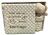 mibebestore Manta Bordada Personalizada + Dou Dou Carrito Bebe Capazo (1,10 x 0,80 cm) (Manta Beige + Dou Dou)