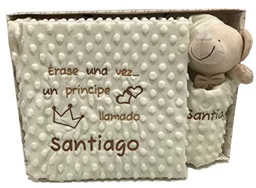 mibebestore Manta Bordada Personalizada + Dou Dou Bordado Personalizado Carrito Bebe Capazo (1,10 x 0,80 cm) (Manta Beige + Dou Dou Beige)