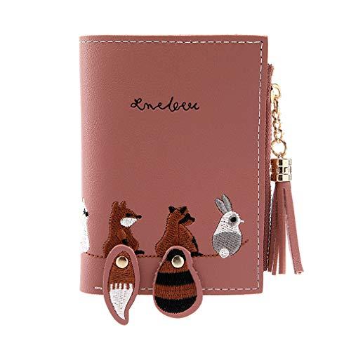 Daylyric Creative Wallet für Frauen Cute Cartoon Stickerei Kleintier Pu Leder Wallet mit Reißverschluss Short Clutch Coin Geldbörse Kartenhalter für Frauen Geschenke, Dark Pink