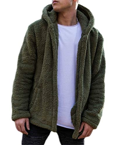 LeaLac Mens Winter Casual Faux Hoodie Fuzzy Sherpa Zip Up Fleece Jacket Open Front Warm Cardigans Coat with Pockets L233-135 Green XXL
