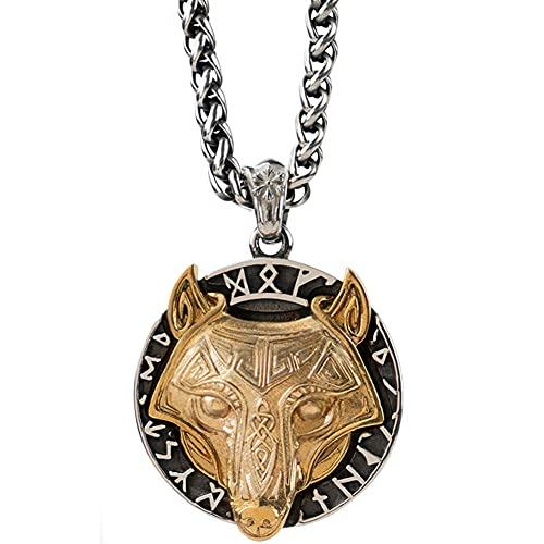YANGFJcor Viking Coin Wolf Totem Colgante Collar, Hombres Y Mujeres Norse Celtic/Runas Valknut/Árbol Vida/Fenrir 316L Acero Inoxidable Amuleto Personalizado Regalo de La Joyería,Wheat Chain,70cm