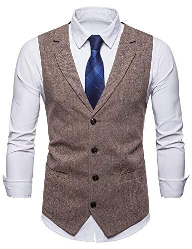 STTLZMC Panciotto Gilet Uomo Slim Fit Tweed Smanicato Matrimonio Corpetto Smoking Waistcoat Casual retrò(Niente Camicia),Khaki,x-Large