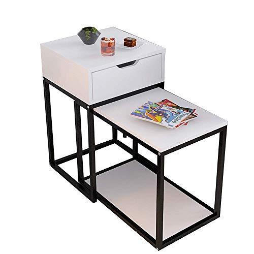 N/Z Living Equipment Escritorios Mesas Nido Rectangular multifunción ángulo Soporte de Metal/Tablero de Madera 2 en 1 / Espacio para Ahorrar con cajón Banco de Trabajo (Color: Blanco)