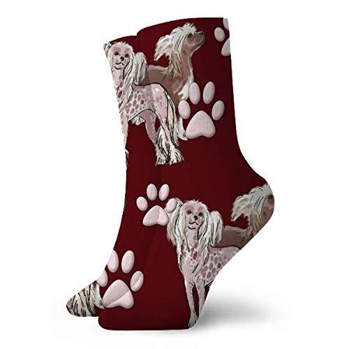 leyhjai Calcetines cortos de deporte de ocio clásico de perros con cresta chinos, calcetines divertidos 30cm / 11.8 pulgadas