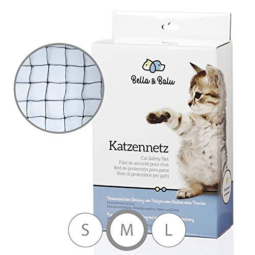 Bella & Balu Katzennetz drahtverstärkt inkl. Haken, Dübel, Rundumseil und Anleitung - Drahtverstärktes Schutznetz für Katzen zur Absicherung von Balkon, Terrasse und Fenster (schwarz | 8 x 3 m)