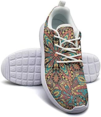 Hobart dfgrwe Mandala Abstract Pattern Colorful Wallpaper Womans Skateboard Casual Shoes Fashion Fitness Shoe