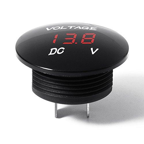 Digital Voltmeter,Mini LED Rund Batterie Tester 12 Volt/24Volt Spannungsmesser Wasserdicht für Auto Motorrad Boot 1 Stück Rot