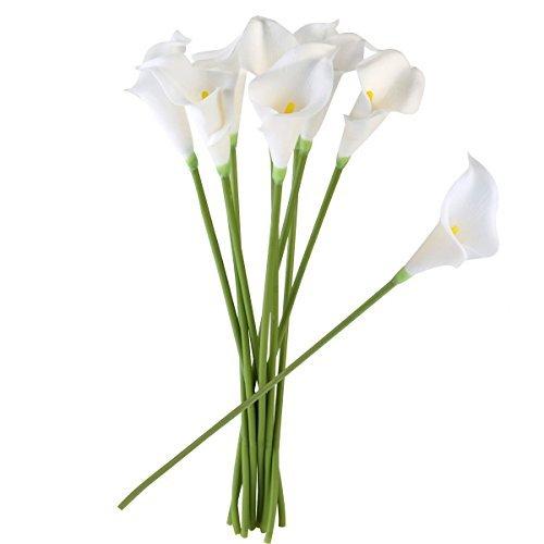 ULTNICE 10 Stücke Weiche PU-künstliche Blume Calla-Blumen-Anlage für Hochzeits-Ausgangsdekoration-Weiß