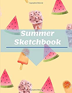 Summer Sketchbook Watermelon IceCream Kids Sketch Pad With Blank Paper For Drawing And Sketching