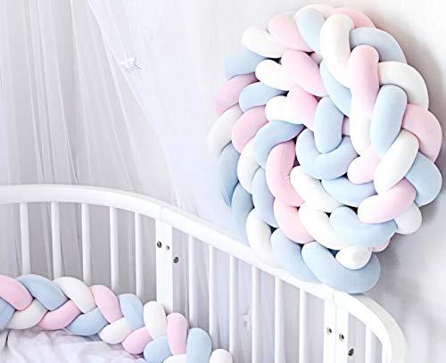 Protector de cuna de 2 m o 3 m para bebé, cojín de serpiente, cojín trenzado, parachoques, terciopelo para protección del bebé (blanco + rosa + azul, 200 cm)