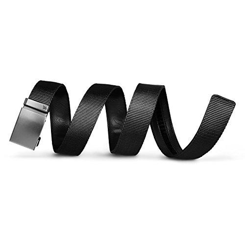 Mission Belt Men's Ratchet Belt - Stealth - Gunmetal Buckle/Black Nylon Strap, Large (36-38)