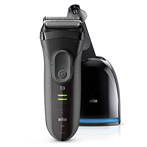 Braun Series 3 ProSkin 3050 cc Afeitadora eléctrica para hombre, máquina de afeitar barba inalámbrica y recargable, recortadora de precisión extraíble, negro/gris + base limpieza y carga Clean&Charge