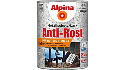 Alpina Metallschutz-Lack Anti-Rost Hammerschlag 2,5 L ca. RAL 9006 Silber