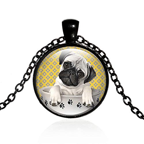 SWAOOS Netter Hund Anhänger Halskette Mops Hund In Pfote Teetasse Kunst Foto Kristallglas Edelsteinkette Halsreif Bester Freund Geschenke