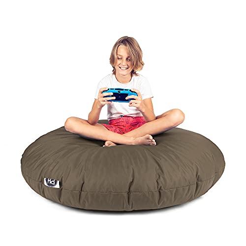 Patchhome - Puf 2 en 1 con cremallera, ya relleno, cojín para el suelo, sillón, color caqui, 145 cm de diámetro