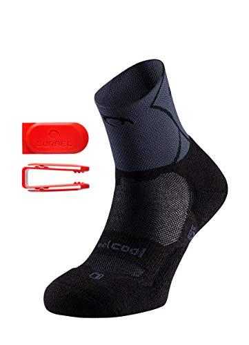 LURBEL Track, Calcetines de Trail Running, Calcetines Anti-Ampollas, Calcetines Transpirables y Anti-olor, Calcetines de correr. Calcetines Para Hombre, Unisex. (Negro - Marengo, MEDIANA - M)