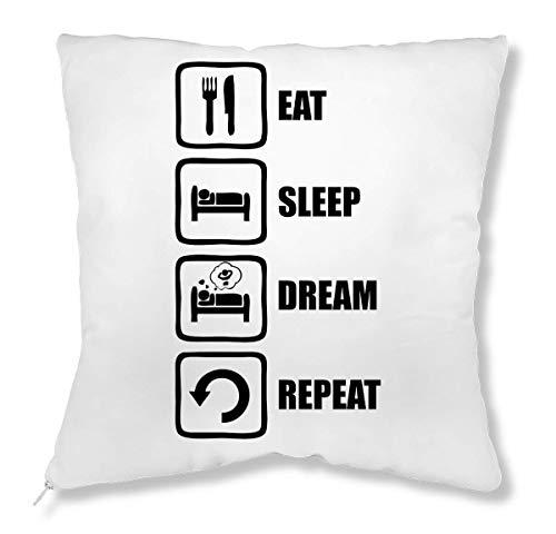 LukeTee Eat Sleep Dream Repeat Funny Black Graphic kussen