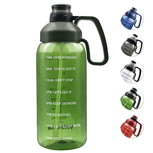 2l Water Bottle with Straw Two-lid Super Leakproof Portable Big Handle, 5-way to Drink 64OZ Motivational Time Ounce Marker Increase Intake,Gym Sport Water Bottle Tritan BPA Free Half Gallon Water Jugs