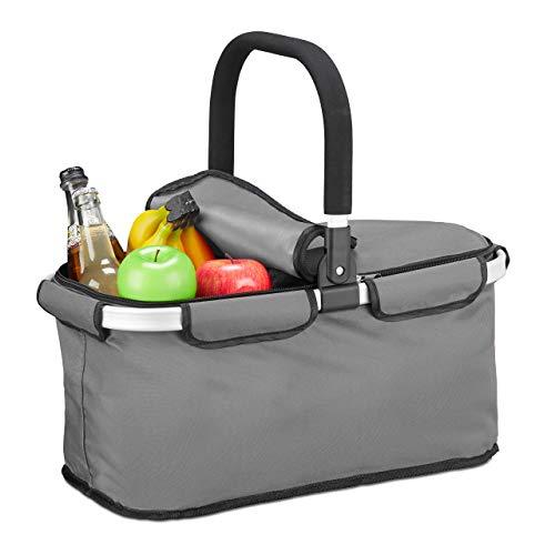 Relaxdays Einkaufskorb faltbar, mit Deckel, Tragekorb mit Henkel, 25 L, Polyester, Faltkorb mit Reißverschluss, grau