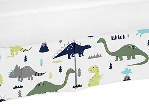Crib Bed Skirt Dust Ruffle for Blue and Green Modern Dinosaur Baby Boys or Girls Bedding Sets