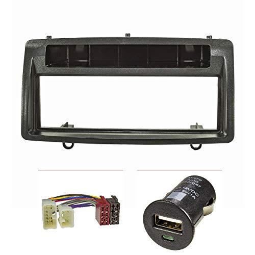 tomzz Audio 2455-017 Radioblende Set kompatibel mit Toyota Corolla E12 E120 Bj.2002-2007 schwarz mit Radioadapter ISO, USB-Lader