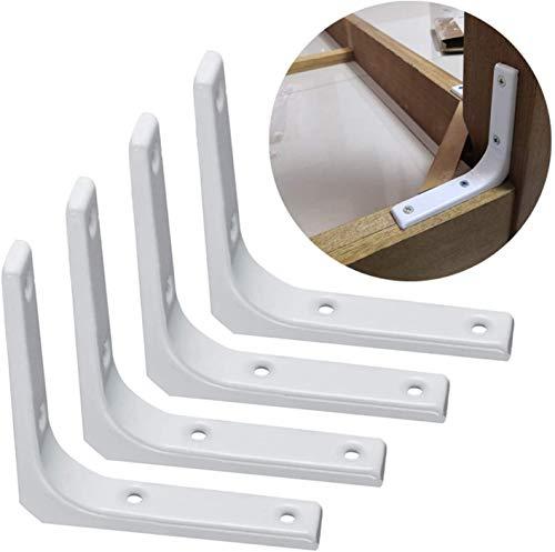 4 soportes de pared para estante de metal, 20 cm, negro/blanco, soporte angular, estabilidad estructural para estanterías, con tornillos y anclajes, para silla de mesa