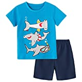 Fiream Baby Boy Summer Clothes Soft Cotton Blue T-Shirt & Navy Blue Shorts 2 Packs, Casual Cute Baby Summer Clothes Boy Adorable Shark Print Design for School Outdoor, Size 18-24 Months, SS202