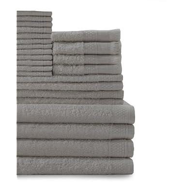 Baltic Linen Company Multi Count 100-Percent Cotton Complete 24-Piece Towel Set, Graphite Grey
