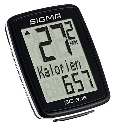 Sigma BC 9.16 Compteur de vélo avec Fil Unisex-Adult, Noir, 3,5x7,8x11,3