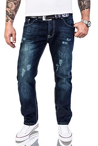 Rock Creek Herren Designer Jeans Verwaschen Used Vintage Look RC-2063 W40 L30