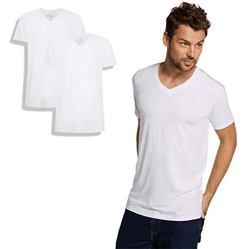 Bamboo Basics - Herren Bambus T-Shirt - Velo - V-Ausschnitt - 2er-Pack - Extra weich und Atmungsaktiv - Weiß - XL