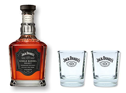 Jack Daniels Single Barrel Whiskey 0,7l 45% Set mit 2 Original Gläser