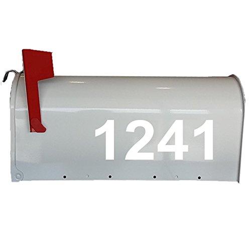 Mailbox Decals Street # Address Numbers Custom Feature Mailbox Stickers Vinyl Letters VWAQ-CMB2 (White)