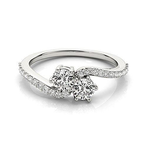 14k White Gold Round-cut Two-stone Diamond Ring (1/2 cttw, H-I, SI1-SI2)
