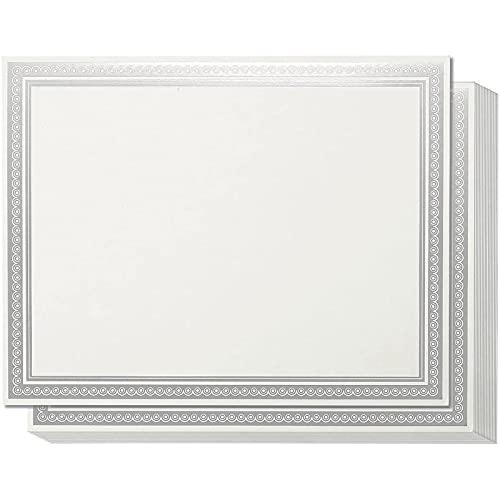 Juvale los certificados de premio (50-count) - blank certificados de premios con la plata metálica foiled frontera - láser y de inyección de tinta de impresora compatible - 8,5 x 11 pulgadas