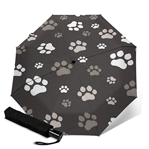 Fast Drying Travel Umbrella, Reinforced Windproof Frame, Auto Open/Close, Slip-Proof Handle for Easy Carry, Dog Paw Prints