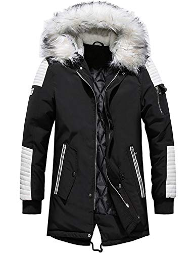chouyatou Men's Winter Warm Faux Leather Spliced Padded Long Down Alternative Parka Coat Fur Hood (X-Large, Black)