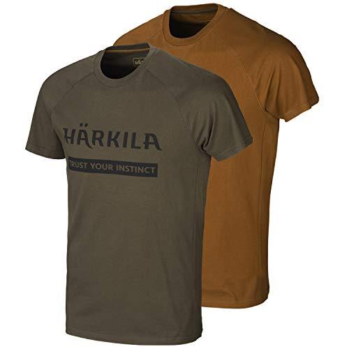 Harkila Logo T-shirt set van 2 - shirt voor jagers in twee verschillende kleuren met logo opdruk - jachtshirt voor heren in verpakking van 2 in bruin groen en oranje