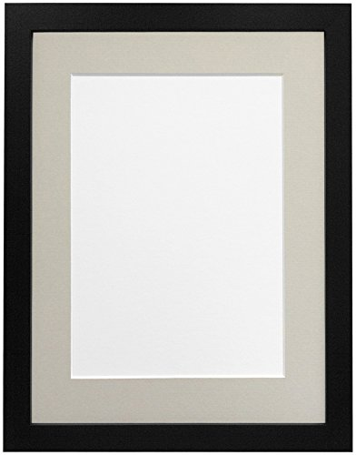 Frames By Post H7-fotolijst met witte passe-partout, breedte 25 mm, wit, hout, zwart, A4-formaat 10 x 6 inch