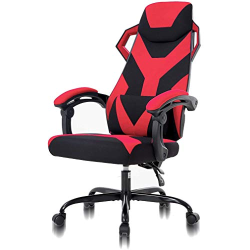 Chic High Back Office Chair Ergonomic Lumbar Support Comfy Gaming Office Chair Heavy Duty Racing Fabric Desk Chair, Ergonomic Executive Swivel Rolling Computer Chair Best Home Office Chair Red