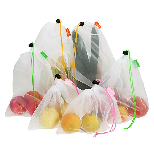 Tebery 15 Pack Washable and Reusable Produce Bags Transparent Lightweight Strong Mesh Bag for Shopping Transporting and Storing Fruits and Veggies  3 Sizes