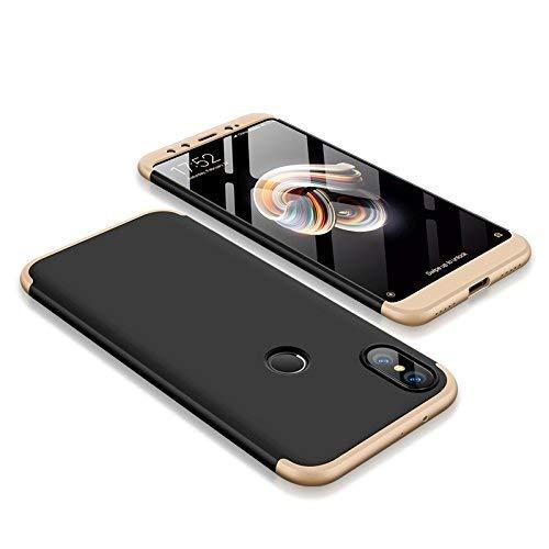 AROYI Funda Xiaomi Mi A2, Carcasa Xiaomi Mi A2 360 Grado 3 in 1 Slim Ultra Fina Híbrida Arañazos Protección Skin Caso Cover para Xiaomi Mi A2/ Mi 6X - Negro+Oro