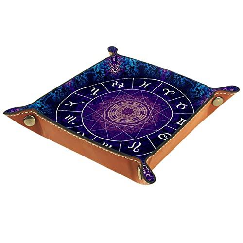 Horóscopo del zodiaco psicodélico para hombres Key Wallet monedero viaje caja de joyería para hombre