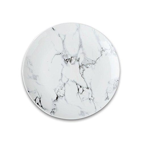 Oumosi Assiettes plates en marbre 20,3 cm Plateau rond en céramique