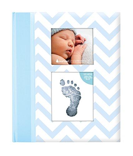 Pearhead P62201 Livre souvenir avec motif Zig Zag et avec tampon encreur Clean-Touch, Bleu [importé de royaume-uni]