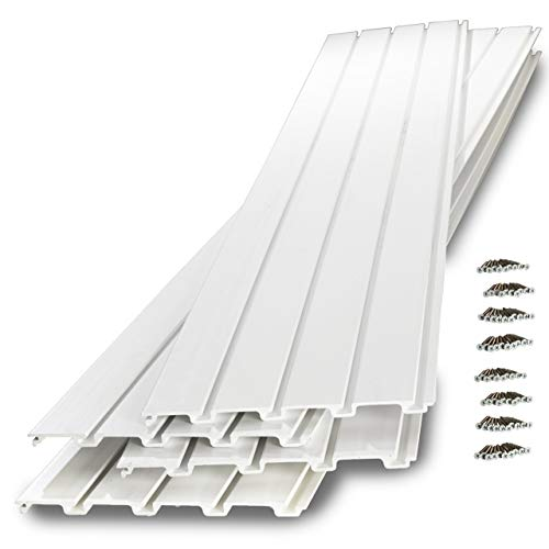 GarageTek Wall Storage PVC SlatWall | 8ft x 1ft TekPanel (4-Pack) | Garage Organizer Hanging System