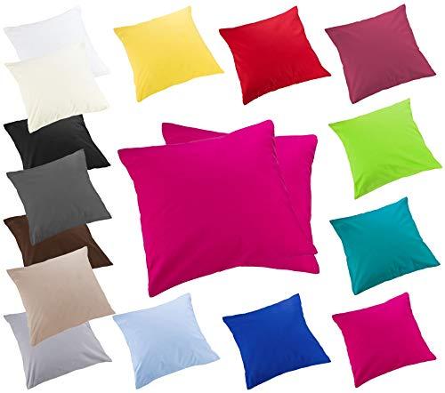 Moon 2er Pack Luxury Linon Kissenbezug Kissenhülle mit Reißverschluß100% Baumwolle (pink, 40x40)