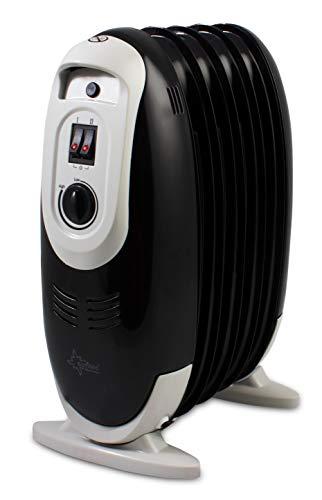 SUNTEC Ölradiator Heat Safe compact 600 black | mini Hochleistungsradiator | mit Thermostat | max 600 Watt | energiesparend und allergikerfreundlich mit 3 Heizstufen und 5 Rippen für Räume bis 32 qm